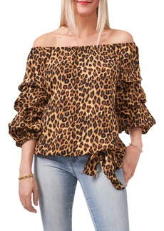 Vince Camuto Leopard Print Off the Shoulder Tiered Sleeve Blouse