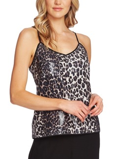 Vince Camuto Leopard-Print Sequined Camisole