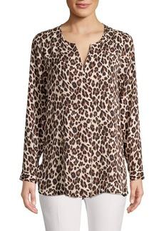 Vince Camuto Leopard-Print Splitneck Foldover Tunic