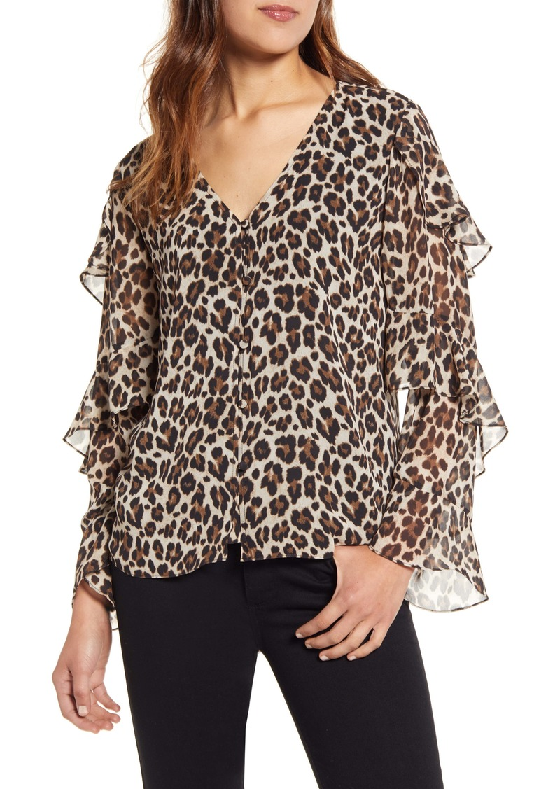 Vince Camuto Leopard Print Tiered Sleeve Blouse