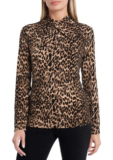 Vince Camuto Leopard Print Twist Neck Top