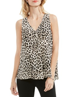 Vince Camuto Leopard Song Drape Front Top