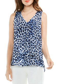 Vince Camuto Leopard Song Drape Front Top (Regular & Petite)