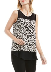 Vince Camuto Leopard Song Mixed Media Top