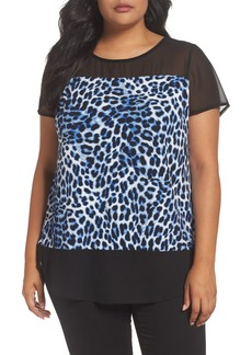 Vince Camuto Leopard Song Mixed Media Top (Plus Size)
