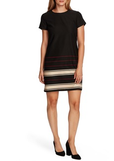 Vince Camuto Linear Plains Border Stripe Twill Dress