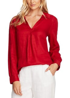 Vince Camuto Linen Collared Tunic Top