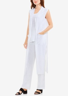 Two by Vince Camuto Linen Open-Front Long Vest