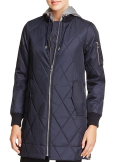 Vince Camuto Long Quilted Bomber Jacket