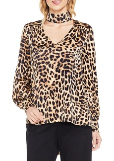 Vince Camuto Long Sleeve Animal Choker Blouse