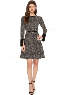 Vince Camuto Long Sleeve Animal Jacquard Flared Sweater Dress