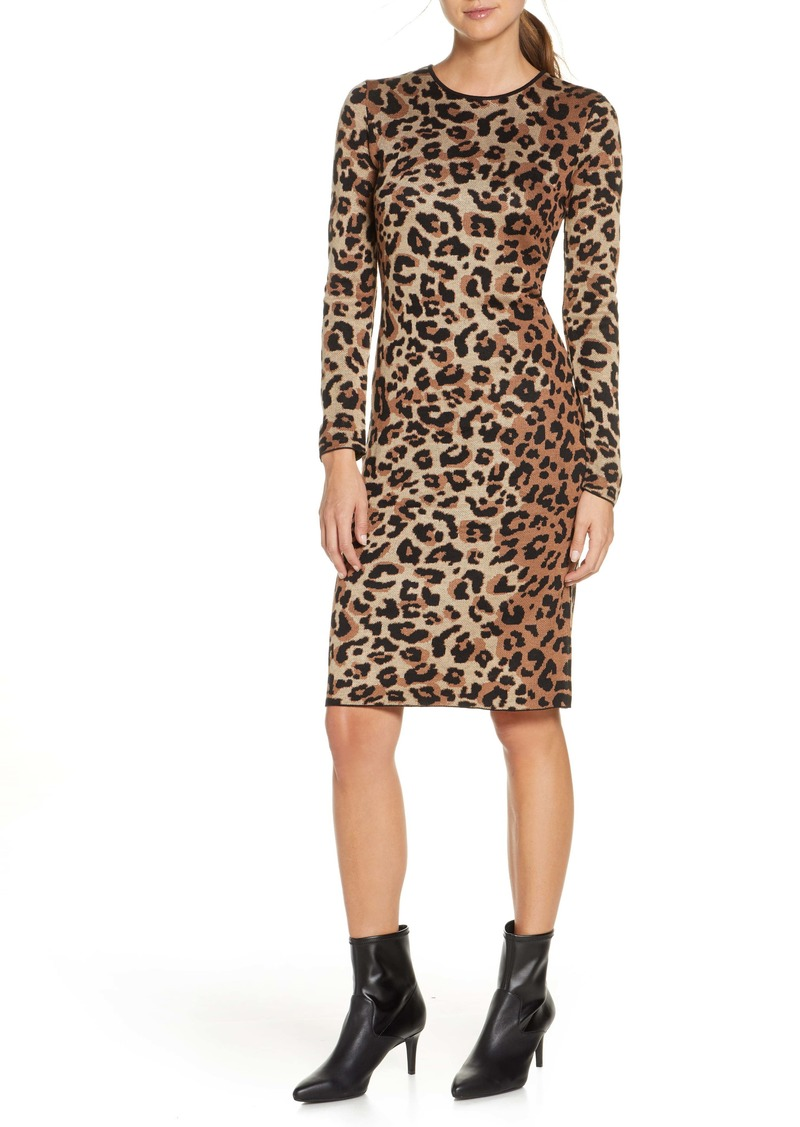 Vince Camuto Long Sleeve Animal Jacquard Sweater Dress