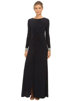 Vince Camuto Long Sleeve Beaded Gown w/ Front Drape