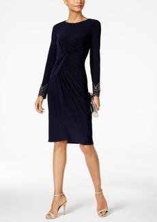 Vince Camuto Long-Sleeve Beaded Sheath Dress