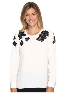Vince Camuto Long Sleeve Blouse with Sequin Lace Applique
