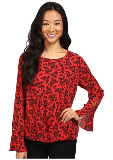 Vince Camuto Long Sleeve Bouquet Stamp Fold-Over Blouse