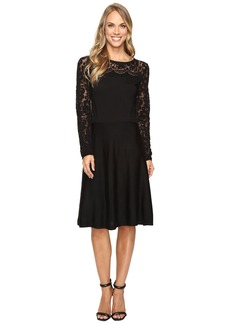 Vince Camuto Long Sleeve Burnout Flare Sweater Dress