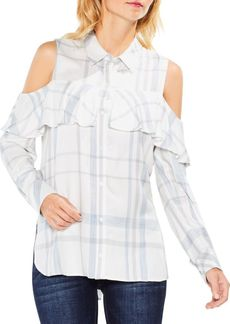 Vince Camuto Long-Sleeve Cold-Shoulder Ruffled Space Dye Plaid Blouse