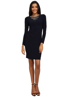 Vince Camuto Long Sleeve Jersey Dress w/ Heavily Embellished Neckline