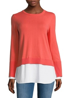 Vince Camuto Long-Sleeve Mix Media Cotton Sweater