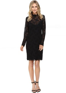 Vince Camuto Long Sleeve Mock Neck Scallop Lace Dress