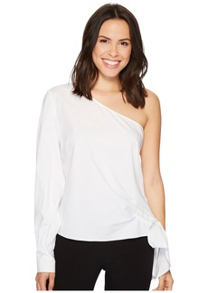 Vince Camuto Long Sleeve One Shoulder Side Tie Cotton Poplin Shirt