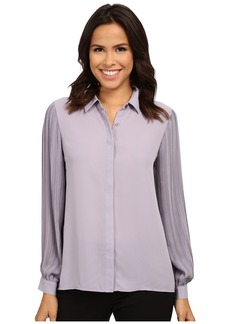Vince Camuto Long Sleeve Pleated Sleeve Button Front Blouse