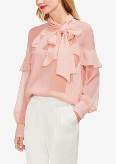 Vince Camuto Long-Sleeve Ruffle Lurex Top