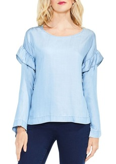 Vince Camuto Long-Sleeve Ruffled Shoulder Blouse