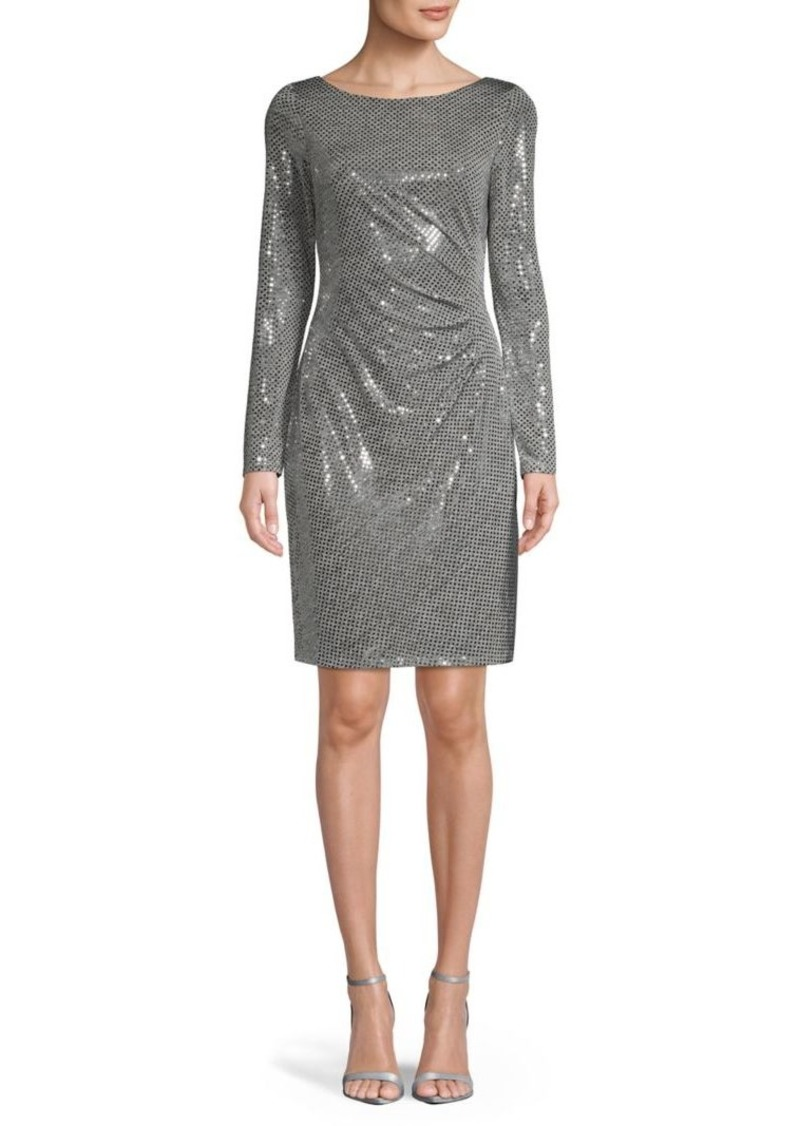 Vince Camuto Long-Sleeve Sequin Sheath Dress
