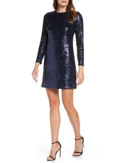 Vince Camuto Long Sleeve Sequin Sheath Dress