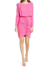 Vince Camuto Long Sleeve Shirred Skirt Cocktail Dress
