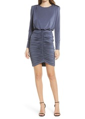 Vince Camuto Long Sleeve Shirred Skirt Cocktail Dress