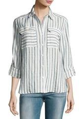 Vince Camuto Long-Sleeve Striped Linen Shirt