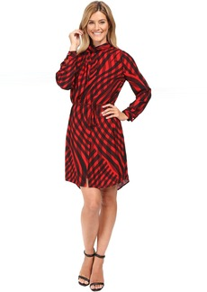 Vince Camuto Long Sleeve Swept Check Belted Dress with Neck Scarf