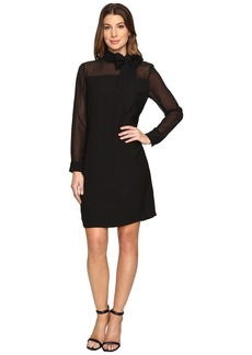 Vince Camuto Long Sleeve Tie Neck Dress with Chiffon Sleeves/Yoke