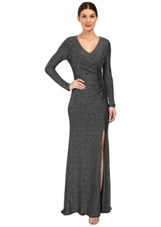 Vince Camuto Long Sleeve V-Neck Gown w/ Side Tucks
