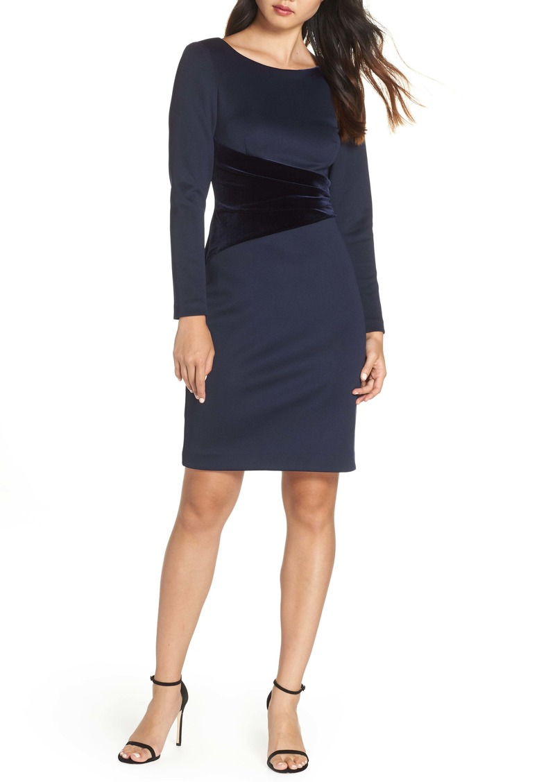 Vince Camuto Long Sleeve Velvet Detail Cocktail Dress