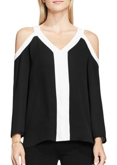 Vince Camuto Loose-Fit V-Neck Cold Shoulder Blouse