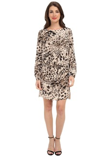 Vince Camuto L/S Animal Fresco Center Fold Dress