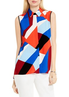 Vince Camuto Marina Blocks Pleat Back Blouse
