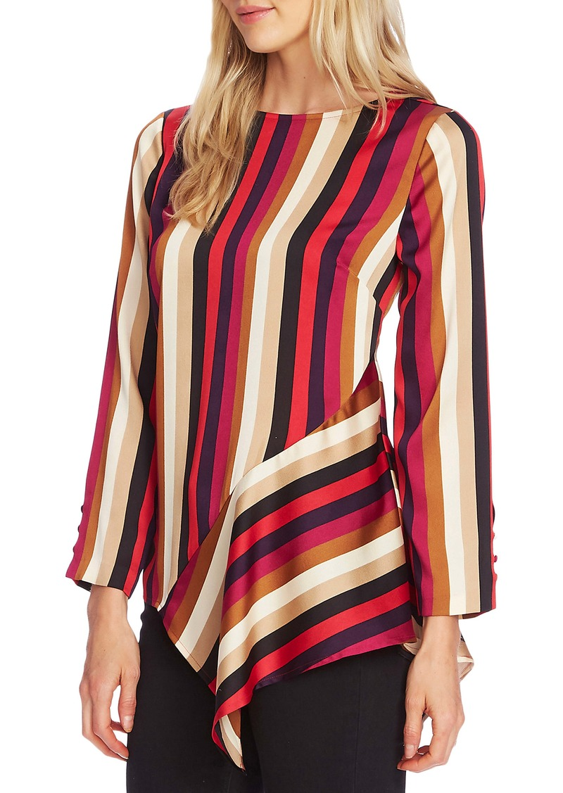 Vince Camuto Mayfair Stripe Asymmetrical Hem Blouse