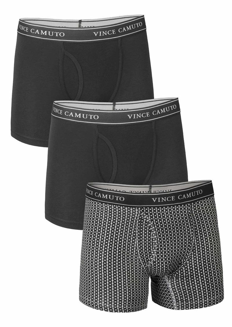 Vince Camuto Men's 3-Pack Cotton Stretch Boxer Briefs Ditzy/Black