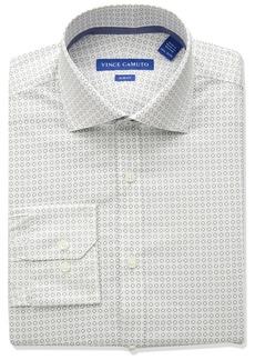 VINCE CAMUTO Men's Slim Fit Performance  Geo Print Dress Shirt
