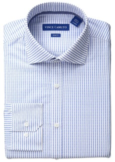 cccd7b68402 Vince Camuto Men s Slim Fit Stretch Dobby Stripe Dress Shirt with Collar 16  ...