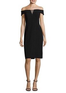 Vince Camuto Mesh Insert Off-the-Shoulder Sheath Dress