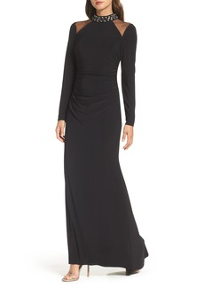 Vince Camuto Mesh Panel Gown