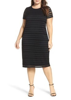 Vince Camuto Mesh Stripe Sheath Dress (Plus Size)