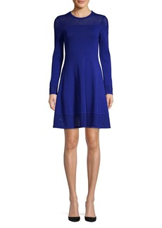 Vince Camuto Mesh Trimmed Knit Fit-&-Flare Dress