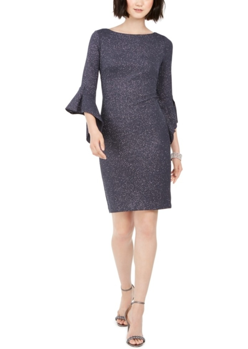 Vince Camuto Metallic Bell-Sleeve Sheath Dress